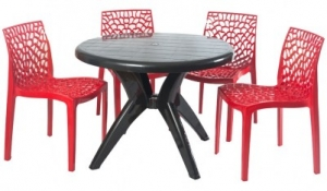 Supreme Web Chair With Marina Table - Red